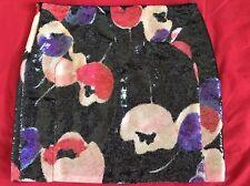 Dianne Von Furstenberg Women's Mini Skirt Size 2 Black Floral Sequin