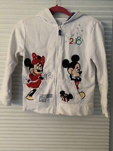 Disney Parks Girls Minnie & Mickey Hoodie Size M Sweatshirt Hoodie Zip Up 00G