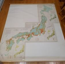 Mid century Japan population map Japanese lang school roll map chart 1950 large