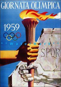 Italian Olympic Games Giornata Olimpica 1959 Vintage Poster Print Retro Style