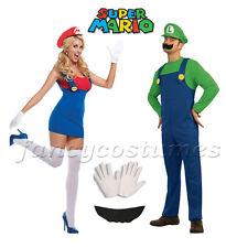 2PCs Couple Mens Super Mario Luigi and Womens Mario Plumber Fancy Dress Costumes
