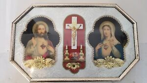 Vintage  BUBBLE GLASS PICTURE Frame Jesus Mary Sacred Heart Crucifix