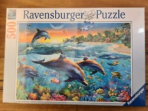 Dolphin Jigsaw Puzzle 500pc ravensburger Turtle Fish Beach Coral Ocean Palm Tree