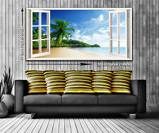 Paradise Island Panoramic Window View Canvas Print XXL 4.5 ft wide x 2 ft high