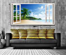 Paradise island panoramique fenêtre vue toile impression xxl 4.5 pi de large x 2 ft high