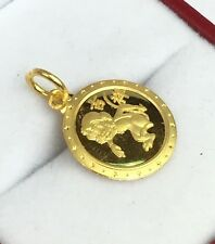 Zodiac 24K Solid Yellow Gold Animal Sign Round Monkey Charm/ Pendant. 1.90 Grams