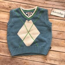 New NWT Kitestrings Blue White Green Argyle Vest 12 mo Golf Easter Preppy