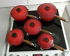 LE CREUSET CAST IRON SAUCEPAN SET  * RED *