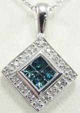 "14K White Gold Pendant Necklace London Blue Topaz Diamond Accent  Pave Set 18"""