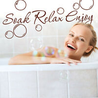 Soak-Relax-Enjoy Bubbles Vinyl Bathroom Quote Art Wall Sticker-Decal Decoration