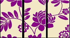 FLORAL CANVAS ARTWORK TRIPTYCH 3 PIECE PURPLE CREAM A1+