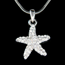 w Swarovski Crystal ~Sea Ocean Star Fish Beach Wedding STARFISH Pendant Necklace
