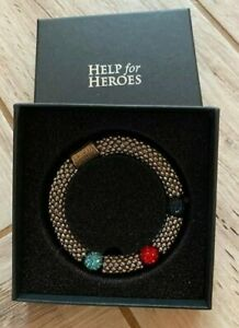 Help For Heroes H4H - Tri-Colour Elasticated Bead Link Bracelet - Boxed, VGC