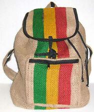 Guatemalan Jute Burlap Coffee Bag RASTA STRIPE BACKPACK Bookbag tote sack hippie