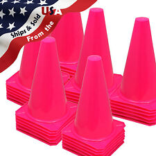 "Qty 36 ~ 9"" Football Training Pitch Marker Traffic Cone Field Agility Cone Pink"