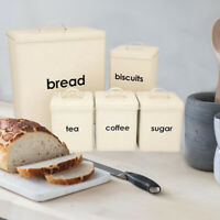 5PC CREAM COLOR METAL BREAD BIN SUGAR COFFEE TEA ENAMEL COATED STORAGE CANISTERS