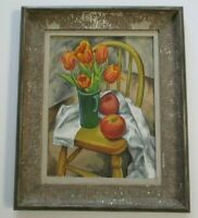 ANTIQUE FREDERICK BUCHHOLZ PAINTING STILL LIFE 1920'S OIL FLOWERS FLORAL listed