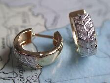 Klappcreolen Gold 2-farbig 333, diamantiert bicolor Ohrringe 13 x 5 mm Gold 333