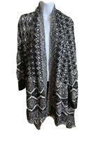 Cato Black and White Open Front Cardigan Fringe Hem 100% Acrylic Size 18/20 W