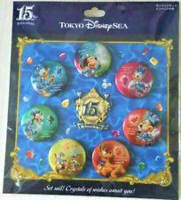 Tokyo Disney Sea 15th anniversary 7 Button Badges 1 pin  set new Japan limited