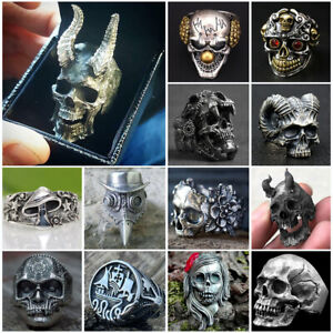 Fashion Black Skull Ring Stainless Steel Rings for Men Gothic Biker Jewelry Hot