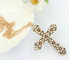 Retro Vintage Bronze Cross Pink Rhinestone Carved Flower Pendant Necklace