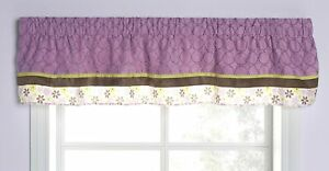 New Carter's ELEPHANT PATCHES Window Valance Purple Brown Floral Circles Suede