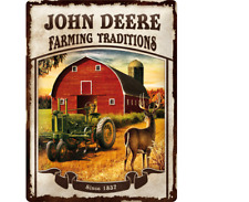 TARGHETTA in Lamiera 23167-John Deere-Farming Traditions - 30 x 40 CM-NUOVO