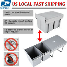 Slide Out 2 X 15L Plastic Pu 00006000 ll Out Trash Can Plastic Cabinet Garbage Bin Kitchen