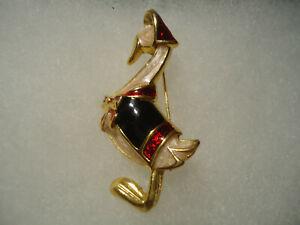 Vintage/nos gold tone enamel Mother Goose pin