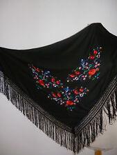 Flamenco Tuch  Manton Schultertuch  Dreiecktuch  schwarz mit  bestickten Blumen