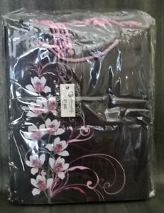LOT of 12 Gift Bags Orchids on Brown Medium 10.3 x 12.8 x 5 REUSABLE GIFT BAGS