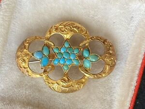 Antique Tested 15ct Victorian Turquoise Paving Gold Brooch As Found