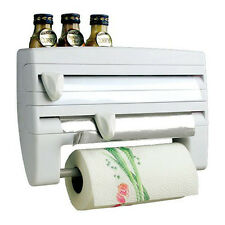 TRIPLE WALL MOUNTED KITCHEN ROLL CLING FOIL TOWEL CUTTER SPICE RACK HOLDER