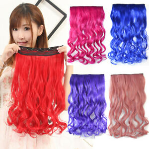 """18"""" Thick Wavy Curly Clip In Hair Extensions Colorful 3/4 Full Head Hairpieces"""