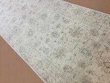 "Persian Oriental Rug Narrow Runner Oushak Hand Knotted Soft Beige 2'.5"" X 9'.9"""