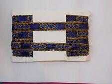 Grano de oro Azul Lentejuelas Disfraz de boda de baile de India Joya cinta de diamantes de imitación
