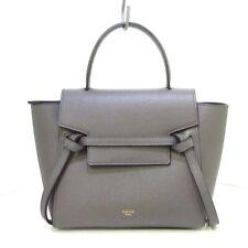 Auth CELINE Belt Bag Nano Gray Grained Calfskin Womens Handbag