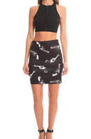 American retro carolyn skirt gonna nuovo aderente stretch w30 tg 44 nero T3887
