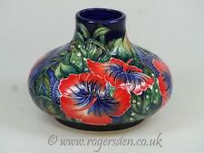 Old Tupton Ware Large Tubelined Squat Vase in the Hibiscus Design on Blue Ground