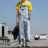 Men Retro Denim Loose Casual Overalls Bib Suspenders Pants Jeans Jumpsuit Romper