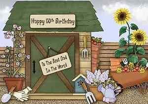 Gardening personalised A5 birthday card mum dad Nanna Grandma Grandad name age