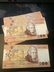 10x Banknotes Portugal 500 escudos 1994  UNC running numbers