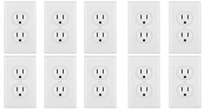 Leviton Standard TR Duplex Receptacle Wall Outlet 15A Wall Plates Incl (10 Pack)