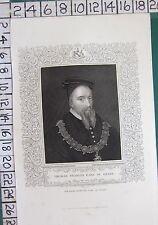 C1850 antica stampa ~ Thomas STANLEY CONTE DI DERBY