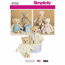 Simplicity SEWING PATTERN 8155 Stuffed Toy Teddy Bears With Clothes