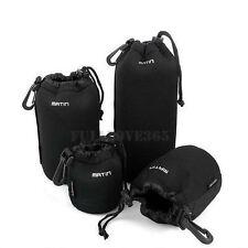 4pcs S+M+L+XL Neoprene Camera DSLR Lens Soft Waterproof Pouch Bag Case Bag Set C