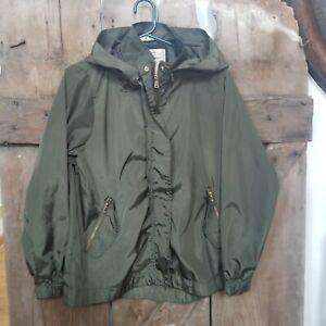 Ci Sono Shiny Army Green Anorak Jacket Hooded Womens L Full Zip Lightweight