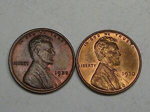 2 BU RB Lincoln Wheat Pennies: 1925 & 1930.  #12