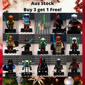 Star Wars Custom Lego Minifigure Jedi Sith Vader Yoda Mando Minifigures AU Stock